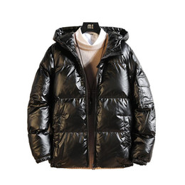 Wholesale puff coats for sale – warmest winter 2020 Japanese Winter New Men s Glossy Coat Hooded Loose Mens Winter Jacket Bright Parkas Clothes Mens Warm Coats M XL