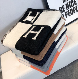 Wholesale High quality Letter H Cashmere Blanket Crochet Soft Scarf Shawl Portable Warm Plaid Fleece Knitted Throw Cape 140*170cm