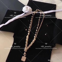 pearl pendant designs gold Australia - Popular fashion brand High version Square Pearl designer Necklace for lady Design Women Party Wedding Luxury Jewelry for Bride with BOX.