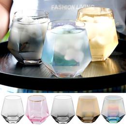 Wholesale beers glasses online – design 300ml Glass Wine Glasses Milk Cup Colored Crystal Glass Geometry Hexagonal Cup Phnom Penh Whiskey Cup XD23610