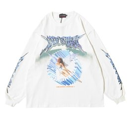 long oversized t shirt mens Canada - Distress Men Long Sleeve Angel Graphic T Shirt Oversized Tees Men Hip Hop Streetwear 2020 Trending Products Mens Clothing Tops 0924