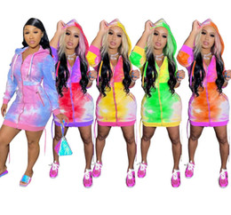 Wholesale plus size coat dresses resale online - Women Designers Hoodies Coat Long Dresses Zipper Cardigan Jackets Color Tie Dye Hooded Hoodie Jacket Long Coats Overalls Outerwear D9102