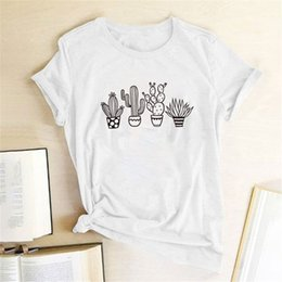 korean cute women t shirt UK - Cactus Potting Print T-shirts Women New T Shirt Women Fashion Aesthetic Clothes Kawaii Shirt Femme Tee Korean Cute Tops Teens