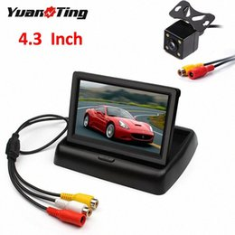 Wholesale YuanTing 4.3 inch Car Rear View Foldable Monitor 4 LED Night Vision Waterproof Reversing Backup Parking Camera Safety System meru#