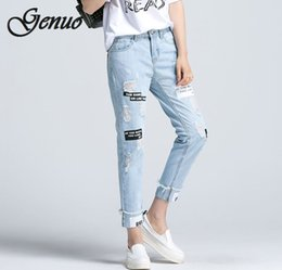 Wholesale women ripped jeans resale online - Letter Print Ripped Jeans New Fashion Spring Button Mid Waist Women Trousers Blue Pocket Casual Jeans