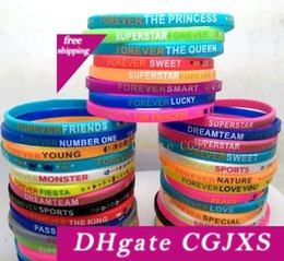 birthday wristbands UK - 50pcs Colorful Charm Silicone Bracelets Forever Wristbands Wholesale Kids Children Birthday Christmas Party Gift Jewelry Accessories
