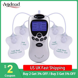 electric back massager 2021 - AGDOAD Electric Tens Acupuncture Body Muscle Massager 4 Electrode Pad Digital Therapy Machine For Back Neck Foot Leg Health Care