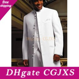 Wholesale groom tuxedo long jacket styles for sale - Group buy Long White Men Suits For Wedding Groomsmen Wear Three Piece Classic Style Groom Tuxedos Jacket Pants Vest
