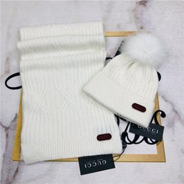 silk beanies for women UK - yy2020newTop Quality Mens Scarf Hat Suit for winter Designer man Scarvers Size 180x32cm long scarves hat Sets 4 color Fast ship
