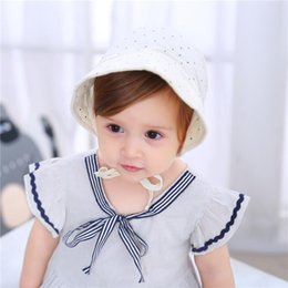 cotton baby girl bonnets NZ - New Fashion Girls Adjustable Baby Cap Dot Cotton Baby Hat Summer Vintage Infant Bonnet Cap for 3-15 Months