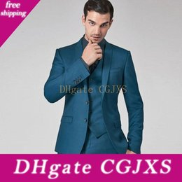 celebrity slim fit suits NZ - 2020 Teal Mens Suits Slim Fit Groomsmen Wedding Tuxedos Three Pieces Groom Suit Peaked Lapel Celebrity Formal Blazers With Jacket Vest Pants