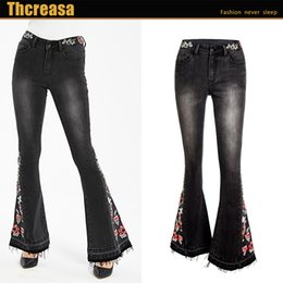 womens flared trousers UK - Autumn Foreign Trade Cross-Border Hot Womens Elastic Heavy Industry Embroidered Flower Flared Pants Black Jeans Trousers Women