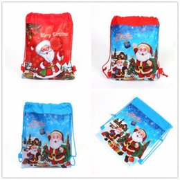 wholesale reusable drawstring bags UK - 2019 Christmas Santa Claus Candy Bag Drawstring Gifts Non Woven Bag For Children Kids Favors Reusable Xmas For Home Party lrDh#