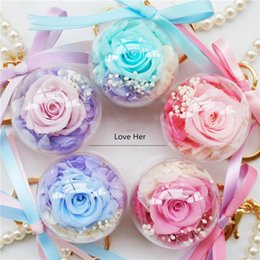 Wholesale ball honeys for sale – custom Immortal Flower Car Hanging Key Chain Creative Flower Acrylic Ball Mother S Day Gift To Send Honey To Love