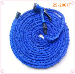expandable magic hose UK - Hot Car Magic flexible hose Expandable Garden Hose reels garden water hose for watering connector Blue Green 25-200FT Y200106