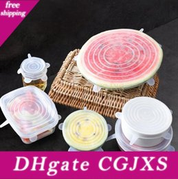 silicone plates bowls NZ - Silicone Food Wraps 6pcs  Set Reusable Food Fresh Save Cover Stretched Durable Bowl Plate Storage Lids Ooa7631 -7
