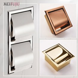 metal tissue box holder UK - Recessed Toilet Paper Gold sus 304 Stainless Steel Toilet Paper Holder Wall WC Roll Holders Tissue Box Cover Toilet Roll Holder T200425
