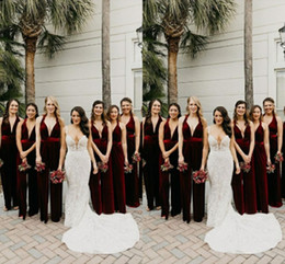 burgundy velvet bridesmaid dress 2021 - Bridesmaid Dresses Cheap Velvet Bridesmaids Jumpsuits Long Wedding Guest Party Maid Of Honor Dresses Hot Sales Custom Made Z73