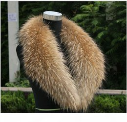 Wholesale raccoon fur collar resale online - Women s or Men s Fur Scarves With Real Raccoon Fur Collar for Down Coat Nature color Varies Size From Length cm Free sh