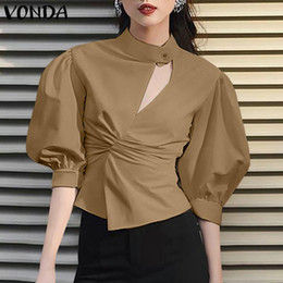 Wholesale buttoned up shirt resale online - VONDA Autumn Half Puff Sleeve Tops Fashion Button up Blouse Casual Shirts Loose Tunic Tops Solid Blusas Chemise Office XL