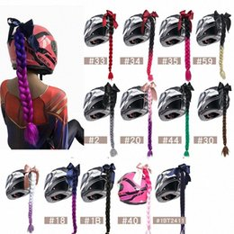 punk wigs NZ - Multi Color Gradient Synthetic Braid Wig Women Punk Style Motorcycle Helmet DIY Decoration With Suction Cup Design Z56W#