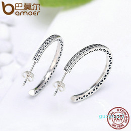 hot bijoux Australia - Hot Sale Bamoer 925 Sterling Silver Radiant Hearts White Enamel & Clear Cz Hoop Earrings For Women Sterling Silver Jewelry Bijoux