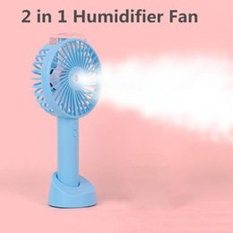 water spraying fans Australia - 2 In 1 Portable Rechargeable Spray Fan Usb Charging Cool Removable Handheld Mini Outdoor Desktop Holder Fans