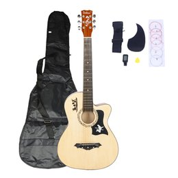 Fashion 38 inch Wood Color Basswood Cutaway Acoustic Guitar w Bag String Pick Strap for Beginner US Stock