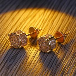 Wholesale Fashion Stud Earrings Hip Hop Jewelry Mens Iced Out Earings Hoop Bling Diamond Earring Rapper Hiphop Men Charms Luxury Designer Accessories