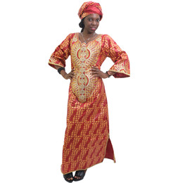 Wholesale bazin african dress resale online - MD south africa dress for women bazin riche dashiki dresses women african clothes embroidery pattern african print headwrap