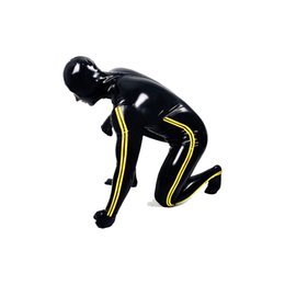 rubber catsuit Australia - Latex Rubber Men Handsome Racing Suit Bla and Yellow Catsuit Size XXS-XXL