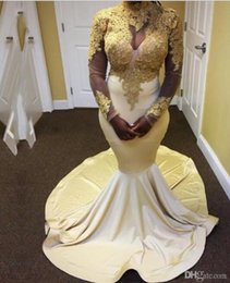 nigeria dresses UK - Gold Prom Dresses Long Sleeves High Neck Appliques Evening Gowns Nigeria Sexy Satin Evening Dresses 2018