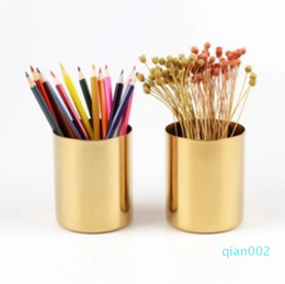 pen desktop UK - Brass gold vase 400ml Nordic style Multi Use Pencil Pot Holder Cup contain Stainless Steel Cylinder Pen Holder for Desk Organizers LXL825-1