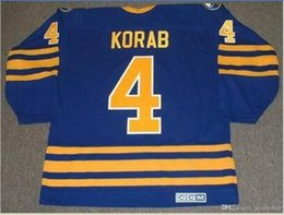 Custom Men Youth women Vintage #4 JERRY KORAB Buffalo Sabres 1978 CCM Hockey Jersey Size S-5XL or custom any name or number
