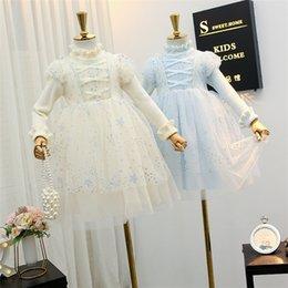 Wholesale star puff online – oversize Girls Knitting Lace Princess Dress Children Ruffle Collar Gauze Puff Sleeve Dress Kids Star Printed Tulle Dress A4427