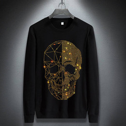 Wholesale short sleeve hoodie online – oversize Januarysnow Brand Fashion Designer Winter Hoodies Mens Skulls Rhinestones Long Sleeve T Shirts Modal Cotton O Neck Short Sleeve Slim Hoodie