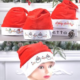 christmas santa hats wholesale Canada - Christmas Santa Claus Hats Embroider Cartoon Snowman Christmas Cap Santa Claus Costume Christmas Decoration Party Hats Xmas Hat BH2729 TQQ