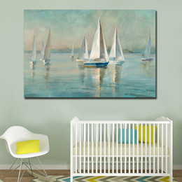 paintings sailboats 2021 - GOODECOR Dropshipping Scandinavian style Canvas Print,Sailboat Handpaint Canvas Painting,Home Decor Wall Art Poster Prin