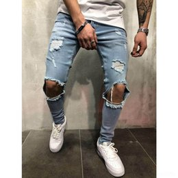 hot tight jeans UK - OK62Z 2020 pants station tight Jeans tight hot-selling New ripped slim men's jeans skinny pants