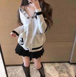Wholesale women cardigans resale online - 2020 Fashion women sweaters round neck knitwear classic hoodie Pure cotton lovers sweater cardigan winter coat X1