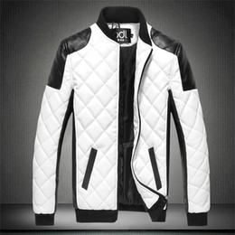 Wholesale black moto pu jacket for sale - Group buy New Autumn Men s PU Cotton Jackets Black White Patchwork Leather Jacket Moto Biker Locomotive Outerwear Male Casual Coat