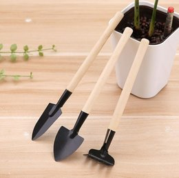 plant shovel UK - Mini Kit Spade Shovel Rake set Gardener pot culture tool group Children Compact Plant Garden Hand Wood Tool CLS295