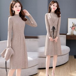 Wholesale korean winter sweater suit resale online - Small long sleeved knitted women s suit autumn and winter Korean style slim vest dress sweater vest slimming two piece dress KilPL