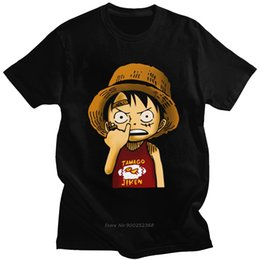 Wholesale luffy shirts online – design Funny One Piece Luffy T Shirt Homme Pure Cotton Anime Tees O Neck Short Sleeve Casual Tshirt Clothing Gift Harajuku