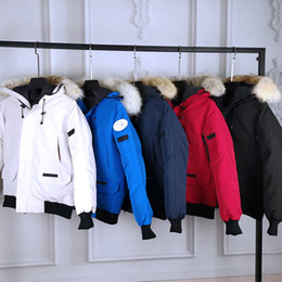 Wholesale men hoods online – oversize Top Designer Mens Womens Down Parkas Clothing Yellow Red Blue Black Pink Sports Athletic Coats Size XS XXL