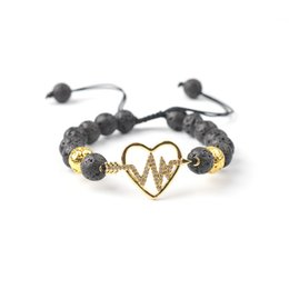 string life 2020 - New Style Natural Volcanic Stone Micro Inlaid With Haoshi Love Life Tree Energy Bracelet Hand Woven String Adjustable La