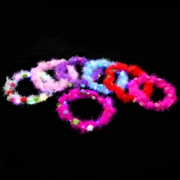 night glowing plastic UK - New feather-glow wreath encryption highlights wreath headdress children's night market tourist attractions bar hot sale.