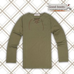 Wholesale giant t shirts online – design Attack giant Allen Allen army green long sleeved T shirt V neck leather rope T shirt COS clothes hp2AB