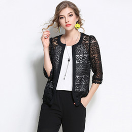 female summer jackets NZ - Women Lace Coat Fashion Lady Spring Summer Half Sleeve Open Front Jacket Black Crochet Sexy Female White Plus Size Short Jacket