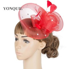 crinoline hair NZ - Fancy color crinoline fascinator headwear feather colorful mesh show hair accessories gril millinery cocktail hats02